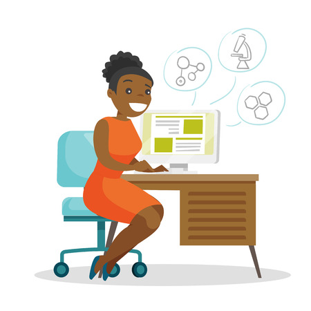 Young african-american cheerful female student sitting at the table and working on a computer. Education technology concept. Vector cartoon illustration isolated on white background. Square layout.
