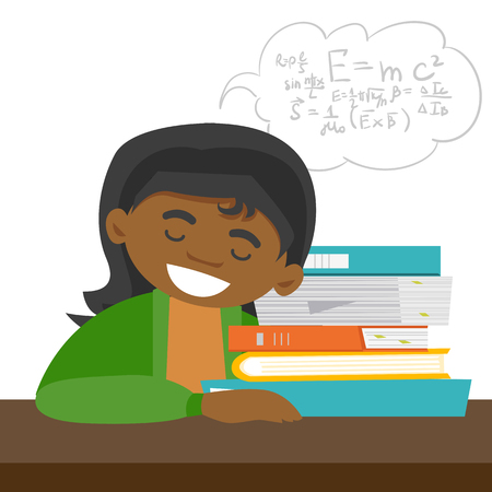 Exhausted african-american student sleeping on the desk and solving maths exercises while sleep. Sleepy student lying on books after learning. Vector cartoon illustration isolated on white background.