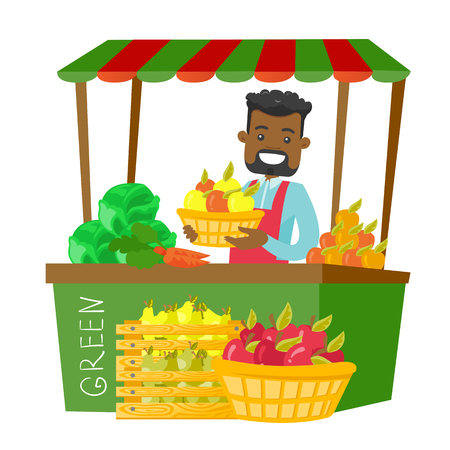 Young african-american street seller standing behind market stall with fruit and vegetables and holding basket with apples. Vector cartoon illustration isolated on white background. Square layout.