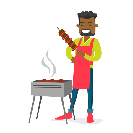 Young cheerful african-american man cooking shashlik with vegetables and meat on skewers on the barbecue grill outdoors. Vector cartoon illustration isolated on white background. Square layout.