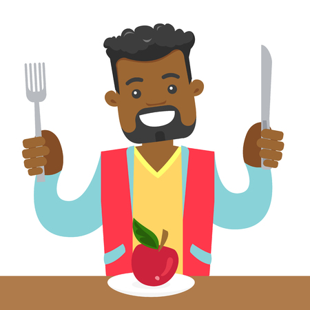 African-american man sitting at the table with fork and knife and getting ready to cut an apple. Concept of healthy nutrition. Vector cartoon illustration isolated on white background. Square layout. Stok Fotoğraf - 99099039