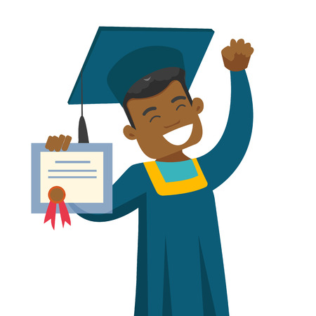 Young african-american cheerful graduate in graduation cloak and hat showing diploma. Concept of education and graduation. Vector cartoon illustration isolated on white background. Square layout.