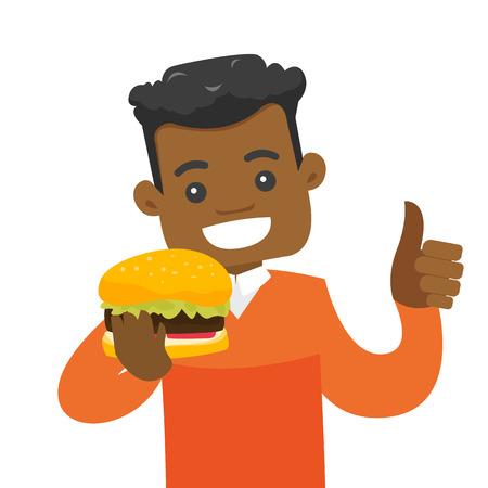 hombre afroamericano alegre que sostiene una hamburguesa y que da el pulgar hacia arriba. hombre joven sonriente se dibuja una hamburguesa de comida de comer vector de comida deliciosa aislado sobre fondo blanco. efecto cuadrado . Ilustración de vector