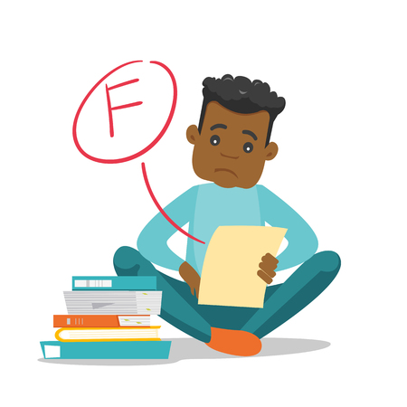 Unhappy african-american student disappointed by test with F grade. Sad student looking at the test paper with bad mark. Education concept. Vector cartoon illustration isolated on white background. 向量圖像