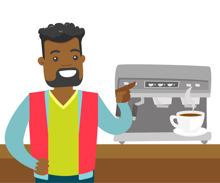 Young african-american man making coffee with a coffee-machine. Man standing next to the coffee machine with cup of hot coffee. Vector cartoon illustration isolated on white background. Square layout. Illustration