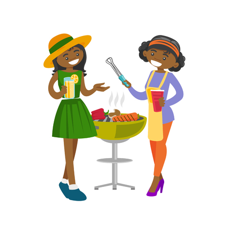 Two young happy african-american women cooking vegetables on the barbecue grill and drinking alcohol at vegetarian outdoor barbecue party. Vector cartoon illustration isolated on white background.