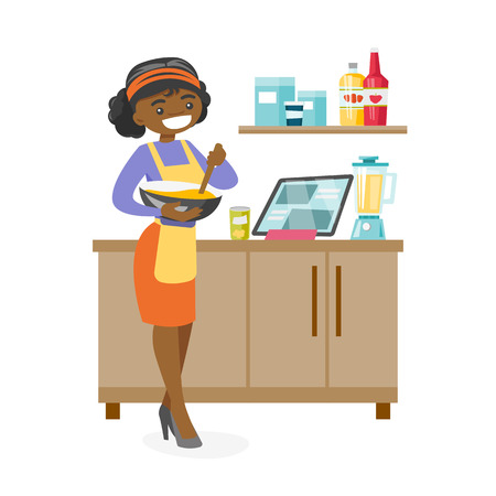 Young african-american woman whisking dough and baking at home. Happy smiling woman following a cake recipe on a digital tablet. Vector cartoon illustration isolated on white background. Square layout