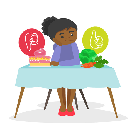 African-american woman sitting at the table and choosing between vegetables and cake. Choice between healthy and unhealthy nutrition concept. Vector cartoon illustration isolated on white background.