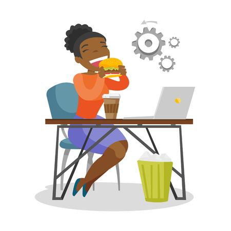 Young african-american business woman sitting at the workplace with laptop and eating hamburger. Concept of unhealthy nutrition. Vector cartoon illustration isolated on white background. Square layout