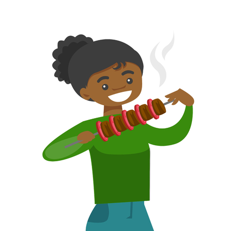 Young cheerful african-american woman eating shashlik with vegetables and meat on skewer. Happy woman with shish kebab in hands. Vector cartoon illustration isolated on white background. Square layout