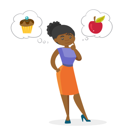 Young thoughtful african-american woman choosing between an apple and a cupcake. Concept of choice between healthy and unhealthy nutrition. Vector cartoon illustration isolated on white background.
