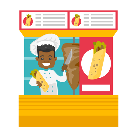 Young happy african-american chef preparing shaurma in a street kiosk. Small business and oriental fast food concept. Vector cartoon illustration isolated on white background. Square layout.