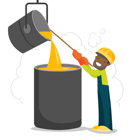 African-american steelworker in hard hat at work near the furnace. Steelworker controlling iron smelting in the foundry in steel making plant. Vector cartoon illustration isolated on white background. Иллюстрация