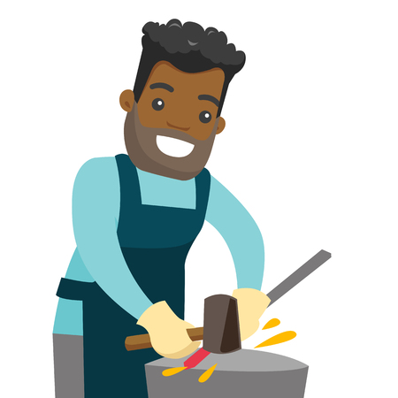 African-american blacksmith working metal with hammer on the anvil in the forge. Young man at work in a smithy. Blacksmith forging the molten metal on anvil. Vector cartoon illustration. Square layout Standard-Bild - 99099075