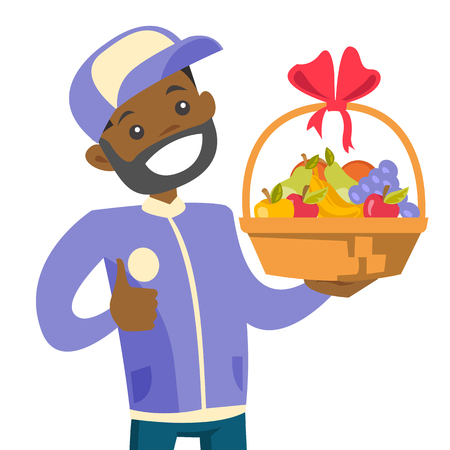 African-american delivery courier delivering fruit gift basket. Delivery man in uniform holding gift fruit basket with bow. Vector cartoon illustration isolated on white background. Square layout.