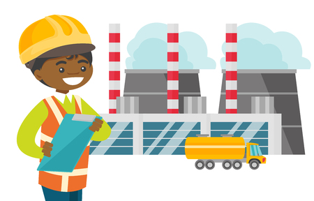 Young african-american woman in hard hat standing on the background of nuclear power plant. Engineer overseeing the electric power plant. Vector cartoon illustration isolated on white background.