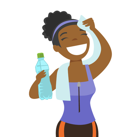 Young african-american sporty woman drinking water and wiping sweat with a towel after workout. Healthy lifestyle concept. Vector cartoon illustration isolated on white background. Square layout. Vettoriali