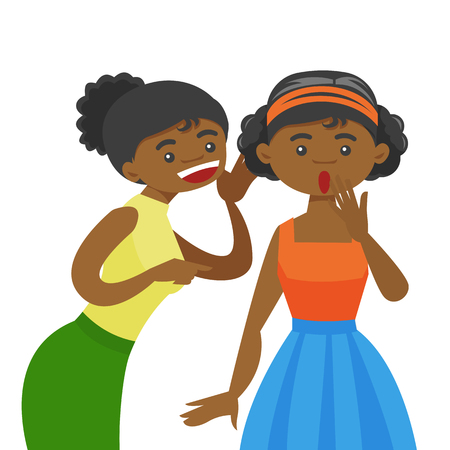 Young african-american woman shielding her mouth and whispering a gossip to her friend. Two female friends discussing gossips. Vector cartoon illustration isolated on white background. Square layout.