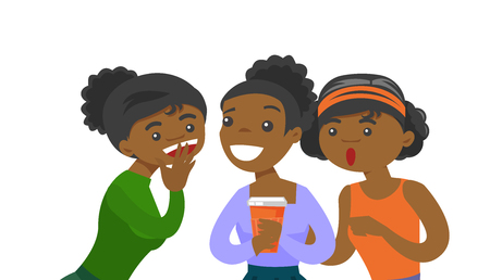 Young African-american woman shielding her mouth and whispering a gossip to her friends. Three women discussing gossips. Vector cartoon illustration isolated on white background. Horizontal layout.