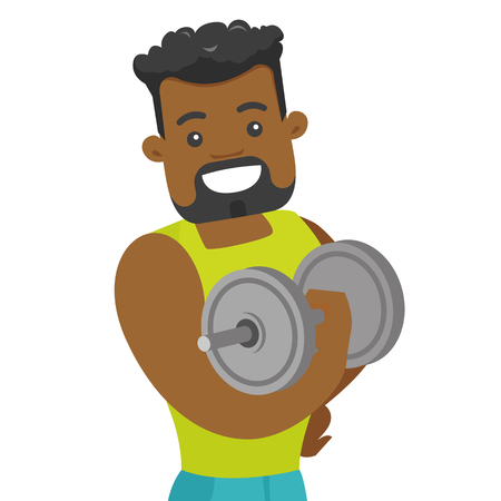 Young African-american strong bodybuilder doing exercises with a heavy weight dumbbell. Muscular sportsman pumping up biceps. Vector cartoon illustration isolated on white background. Illustration