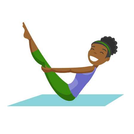 Young african-american sportswoman doing fitness exercises on a gym mat.