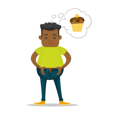 Giovane uomo africano in sovrappeso che sogna cupcake e cerca di allacciarsi i pantaloni troppo piccoli a causa dell'obesità. Vettoriali