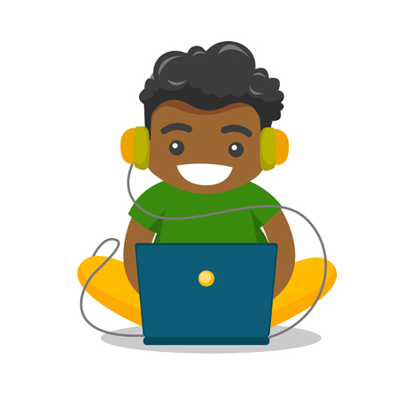Young african-american fat boy in headphones playing video games on laptop. Obese teenage boy surfing on internet on computer. Vector cartoon illustration isolated on white background. Square layout.