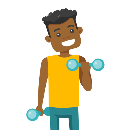 Young african-american strong sportsman doing exercise with a dumbbell. Sporty man lifting a dumbbell and pumping up biceps. Vector cartoon illustration isolated on white background. Square layout. Illustration