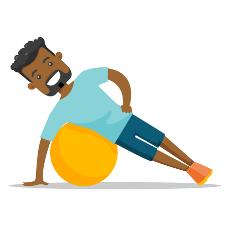 Young african-american man doing exercises with a fitball. Glad sportsman holding side plank exercise on a fitball. Healthy lifestyle concept. Vector cartoon illustration isolated on white background. Illustration