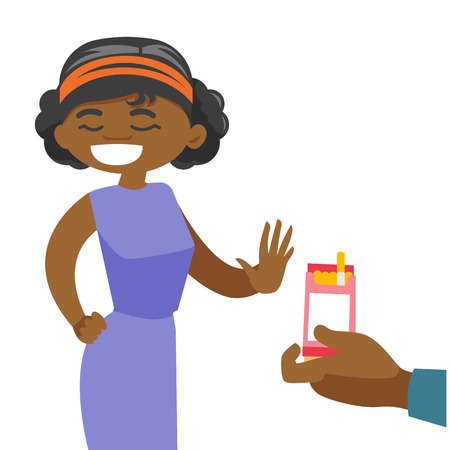 Young african-american woman refusing to take a cigarette from a pack of cigarettes. Ilustracja