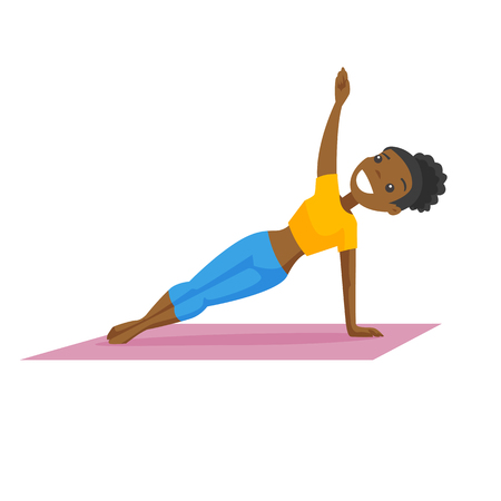 African-american woman holding side plank for abdominal workout. Cheerful sportswoman doing abdominal exercises on the mat. Vector cartoon illustration isolated on white background. Square layout.