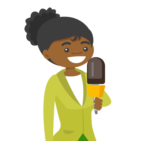 Young african-american female TV reporter with a microphone presenting the news.