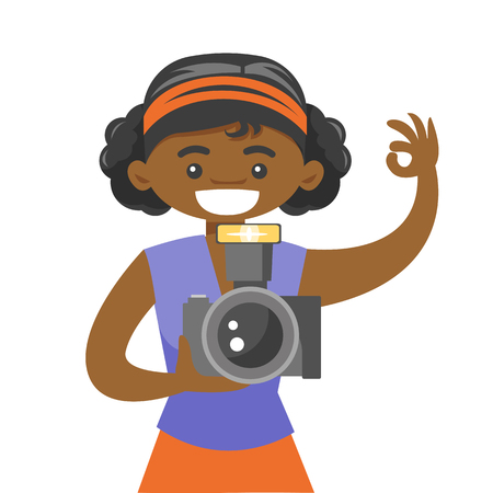 Young african-american photographer taking a photo. Happy female photographer holding a digital camera and showing ok sign. Vector cartoon illustration isolated on white background. Square layout. Ilustracja