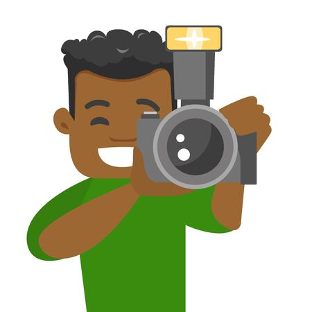 Young african-american photographer taking a photo. Happy photographer looking through the viewfinder of a digital camera lens. Ilustracja