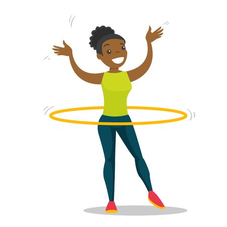 Young african-american sportswoman doing fitness exercises with hula hoop. Cheerful woman at workout with hoop for her waist. Vector cartoon illustration isolated on white background. Square layout.