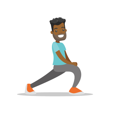 Young African-american man doing stretching warm up exercise. Sportsman stretching legs doing forward lunge before workout. Vector cartoon illustration isolated on white background.