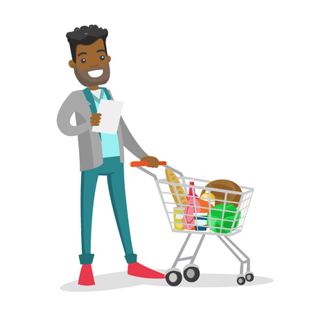 Young African-american man standing next to the shopping cart with products and checking a shopping list in the grocery shop. Vector cartoon illustration isolated on white background. Illustration