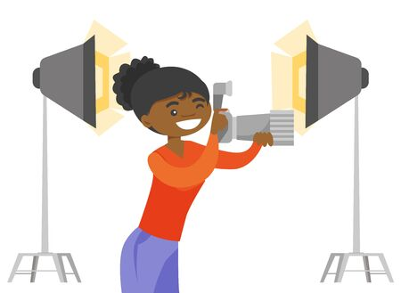Young African-american photographer holding a camera in photo studio with lighting equipment. Photographer using a camera in photo studio. Vector cartoon illustration isolated on white background.