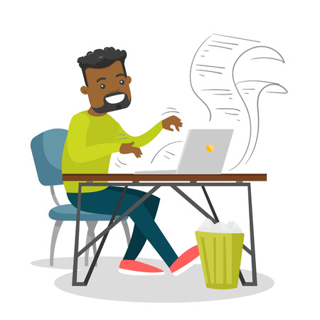 Young African-american man writing an article on a laptop. Man typing on a laptop computer with paper sheets flying around. Vector cartoon illustration isolated on white background. Square layout.