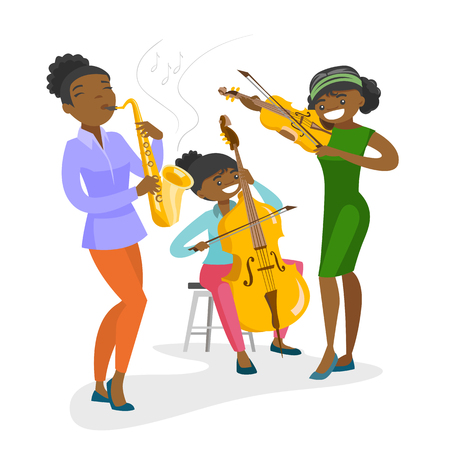 Band of African-american musicians playing the musical instruments at the music performance. Young women playing the violin, guitar, saxophone. Vector cartoon illustration isolated on white background.