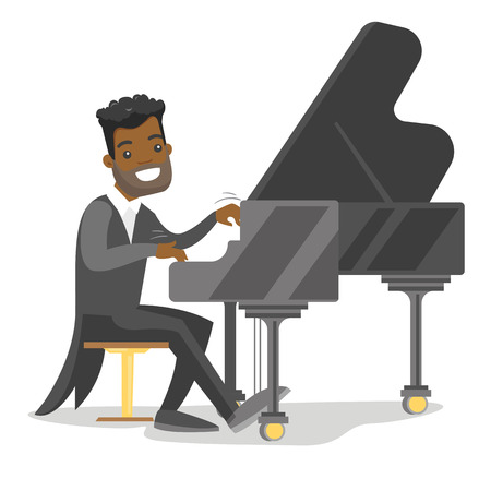 Young African-american musician playing piano. Pianist playing upright piano. Smiling pianist performing on synthesizer. Vector cartoon illustration isolated on white background. Horizontal layout.