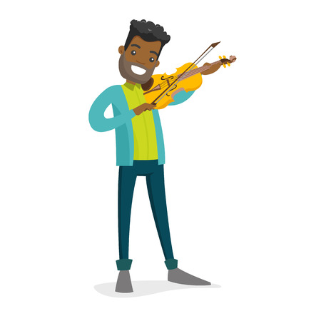 Young smiling African-american musician playing violin. Full length of cheerful violinist with a violin and fiddle stick. Vector cartoon illustration isolated on white background.