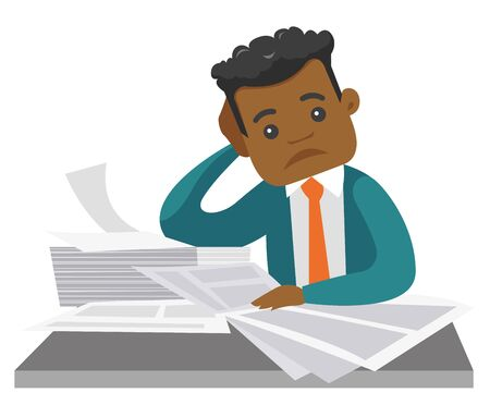 Overworked african-american businessman having a lot of paperwork. Young businessman in trouble sitting at the table with the heap of papers. Vector cartoon illustration isolated on white background. Иллюстрация