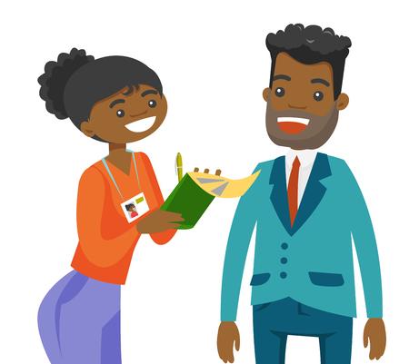 Giovane reporter femminile afroamericano che intervista un uomo e che prende le note. Giornalista che fa un'intervista con l'uomo d'affari. Illustrazione del fumetto di vettore isolata su fondo bianco.