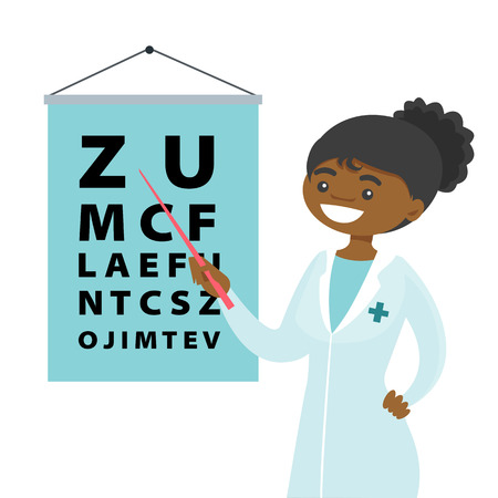 Young African-american ophthalmologist doctor pointing at the eye test chart. Optometrist examining the sight of a patient with an eye chart. Vector cartoon illustration isolated on white background.