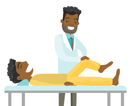 African-american doctor checking the ankle of a patient. Physio doctor giving a leg massage to a patient. Medicine and physiotherapy concept. Vector cartoon illustration isolated on white background. Illustration
