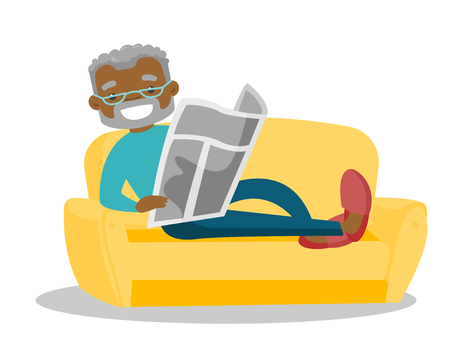 African-american man laying on the couch and relaxing with a newspaper at home. Senior man reading the news in newspaper. Vector cartoon illustration isolated on white background. Horizontal layout. Vettoriali