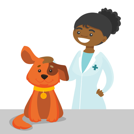 African-american veterinarian examining the dog in the hospital. Veterinarian stroking the dog at vet clinic. Concept of medicine and pet care. Vector cartoon illustration isolated on white background