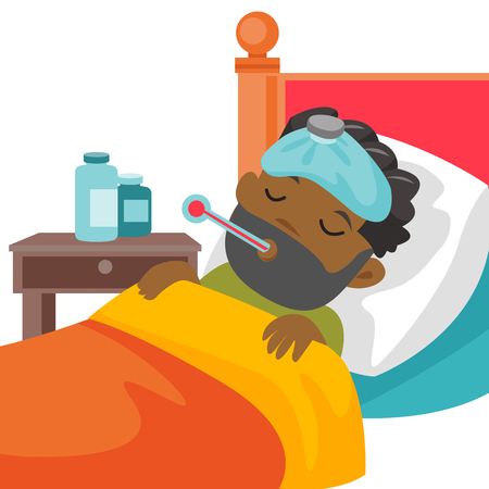 Sick caucasain white boy with fever laying in bed and measuring temperature with a thermometer. Sick patient having headache and suffering from flu virus. Vector cartoon illustration. Square layout.