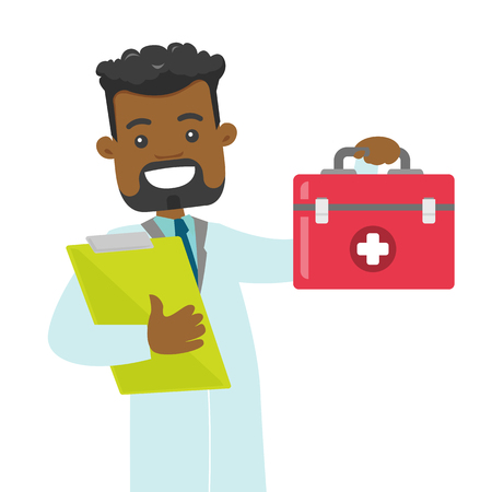 Cheerful african-american doctor in medical gown holding a first aid box and a clipboard. Happy doctor showing a first aid kit. Vector cartoon illustration isolated on white background. Square layout.